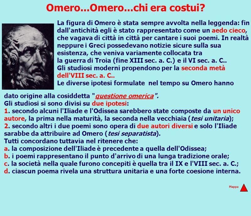 Omero...Omero...chi era costui? La figura di Omero è stata sempre avvolta nella leggenda: fin dall'antichità egli è stato rappresentato come un aedo c