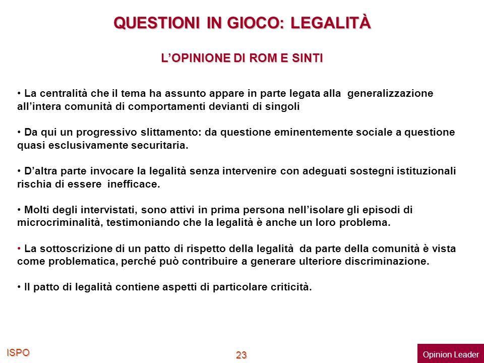 ISPO 23 QUESTIONI IN GIOCO: LEGALITÀ La centralità che il tema ha assunto appare in parte legata alla generalizzazione allintera comunità di comportam