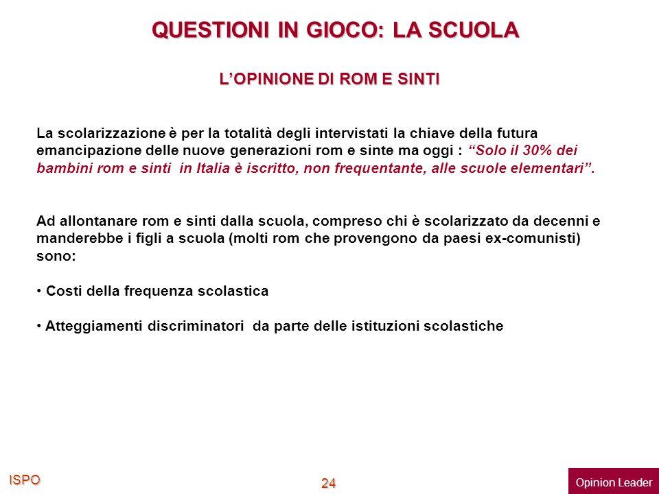 ISPO 24 QUESTIONI IN GIOCO: LA SCUOLA QUESTIONI IN GIOCO: LA SCUOLA La scolarizzazione è per la totalità degli intervistati la chiave della futura ema
