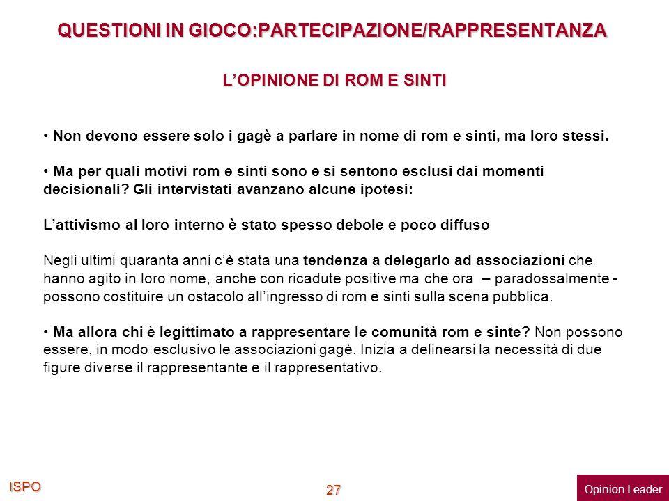 ISPO 27 QUESTIONI IN GIOCO:PARTECIPAZIONE/RAPPRESENTANZA Non devono essere solo i gagè a parlare in nome di rom e sinti, ma loro stessi. Ma per quali