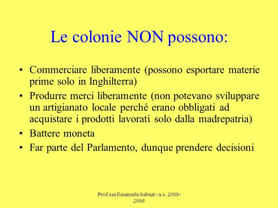 PAGARE LE TASSE AL GOVERNO INGLESE (dal 1764) Acquistare i prodotti dallInghilterra …ma le colonie DEVONO: Prof.ssa Emanuela Sabuzi - a.s.