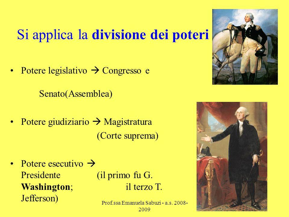 Si applica la divisione dei poteri Potere legislativo Congresso e Senato(Assemblea) Potere giudiziario Magistratura (Corte suprema) Potere esecutivo Presidente(il primo fu G.