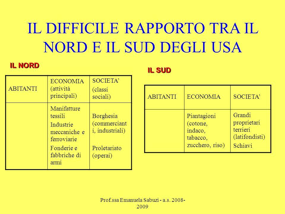 LE CAUSE DEL CONFLITTO 1 Il Nord è contrario alla schiavitù 2 Il Sud vive di agricoltura (piantagioni) 3 Il Nord vive di industria e commercio ESIGENZE DIVERSE….
