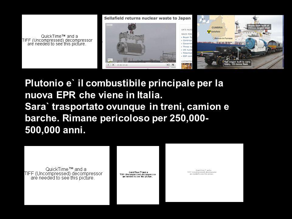 Plutonio e` il combustibile principale per la nuova EPR che viene in Italia. Sara` trasportato ovunque in treni, camion e barche. Rimane pericoloso pe