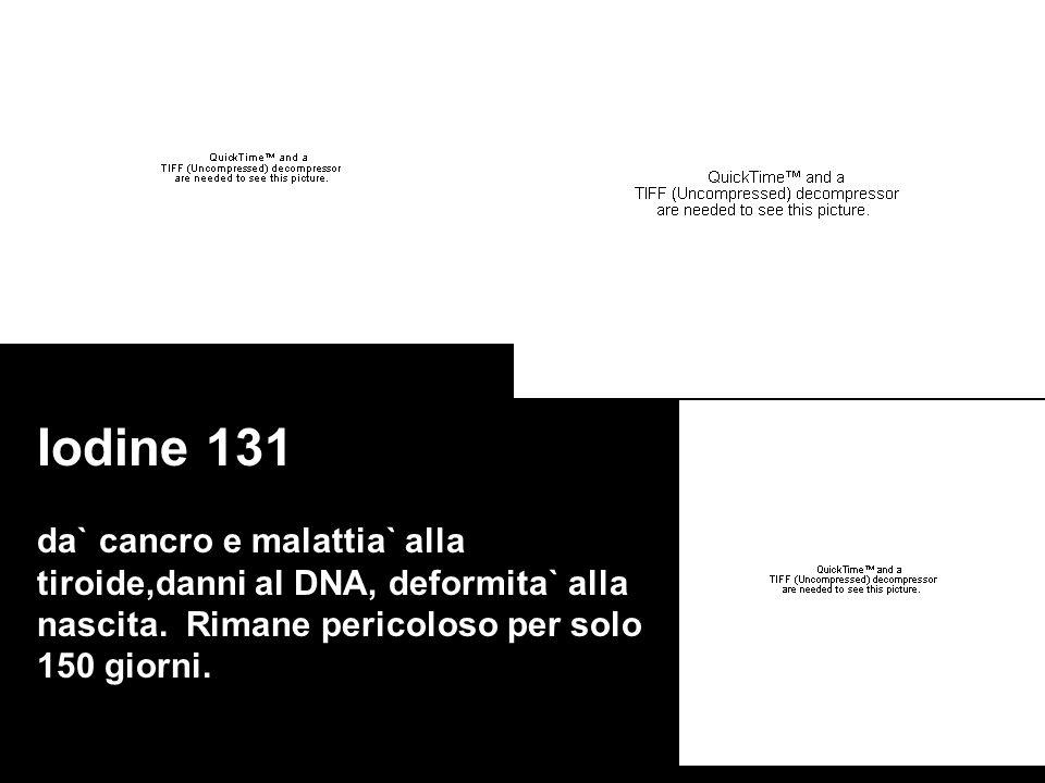 Iodine 131 da` cancro e malattia` alla tiroide,danni al DNA, deformita` alla nascita. Rimane pericoloso per solo 150 giorni.