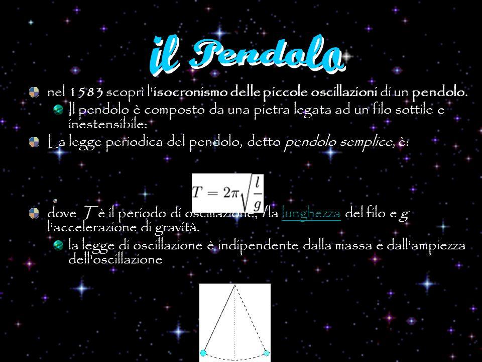 nel 1583 scoprì l'isocronismo delle piccole oscillazioni di un pendolo. Il pendolo è composto da una pietra legata ad un filo sottile e inestensibile: