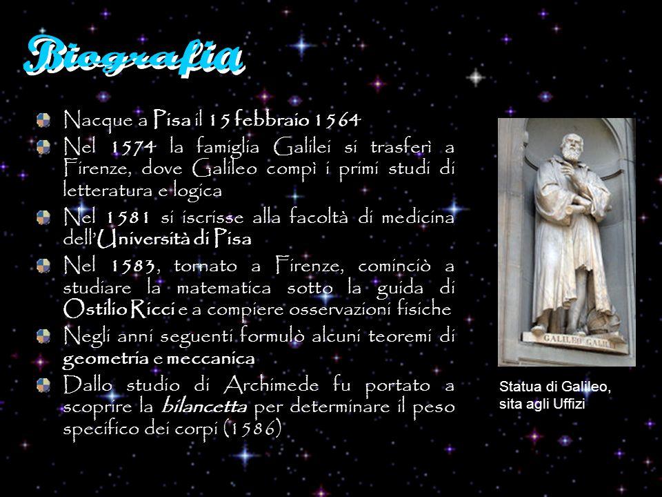 Nel 1589 ottenne la cattedra di matematica dellUniversità di Pisa Scoprì lisocronismo delle oscillazioni pendolari Scoprì la legge di caduta dei gravi Nel 1592 passò ad insegnare matematica nellUniversità di Padova dove trascorse 18 anni (li diciotto anni migliori di tutta la mia età) È del 1593 la macchina per portare lacqua ai livelli più alti Intorno al 1597 si occupò dello studio e della realizzazione di strumenti di misura, tra i quali il compasso per uso geometrico e militare Con la costruzione del cannocchiale (1609) si aprì la serie delle scoperte astronomiche, di cui diede lannuncio nel Sidereus nuncius del 1610 Pendolo di Galileo Galilei a Pisa