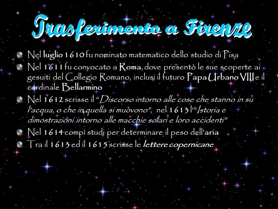 Nel luglio 1610 fu nominato matematico dello studio di Pisa Nel 1611 fu convocato a Roma, dove presentò le sue scoperte ai gesuiti del Collegio Romano