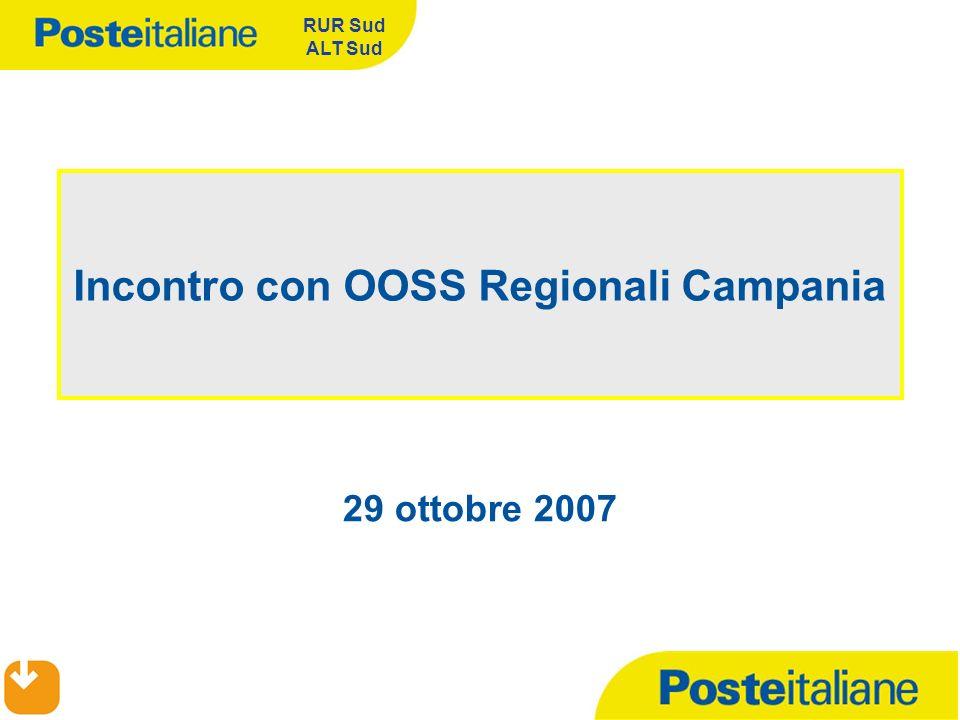 29 ottobre 2007 RUR Sud ALT Sud Incontro con OOSS Regionali Campania