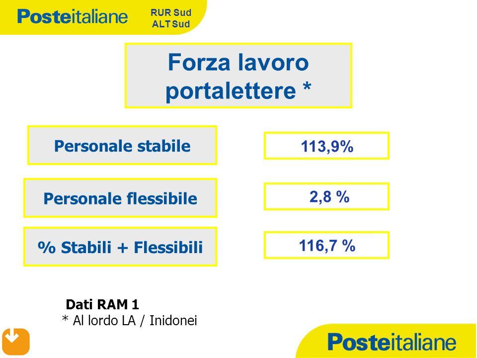RUR Sud ALT Sud 113,9% Forza lavoro portalettere * Personale stabile Personale flessibile Dati RAM 1 * Al lordo LA / Inidonei 2,8 % % Stabili + Flessi