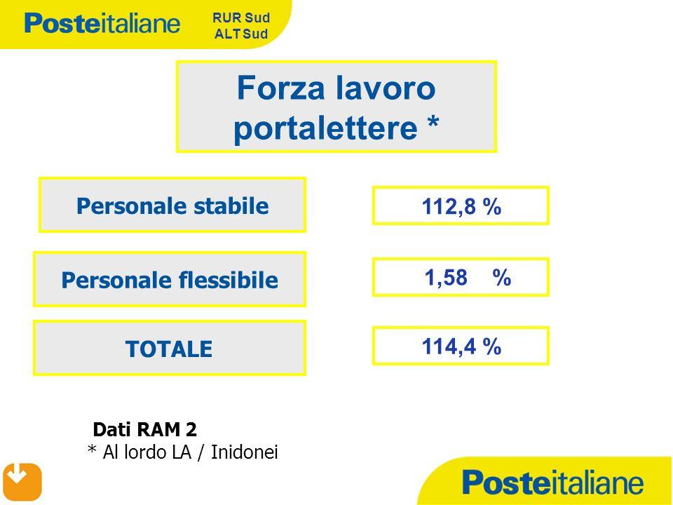 RUR Sud ALT Sud 112,8 % Forza lavoro portalettere * Personale stabile Personale flessibile Dati RAM 2 * Al lordo LA / Inidonei 1,58 % TOTALE 114,4 %