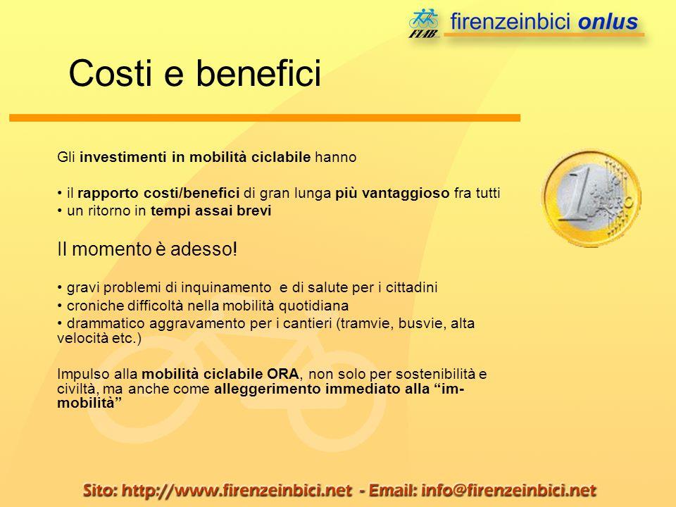 Gli investimenti in mobilità ciclabile hanno il rapporto costi/benefici di gran lunga più vantaggioso fra tutti un ritorno in tempi assai brevi Il mom