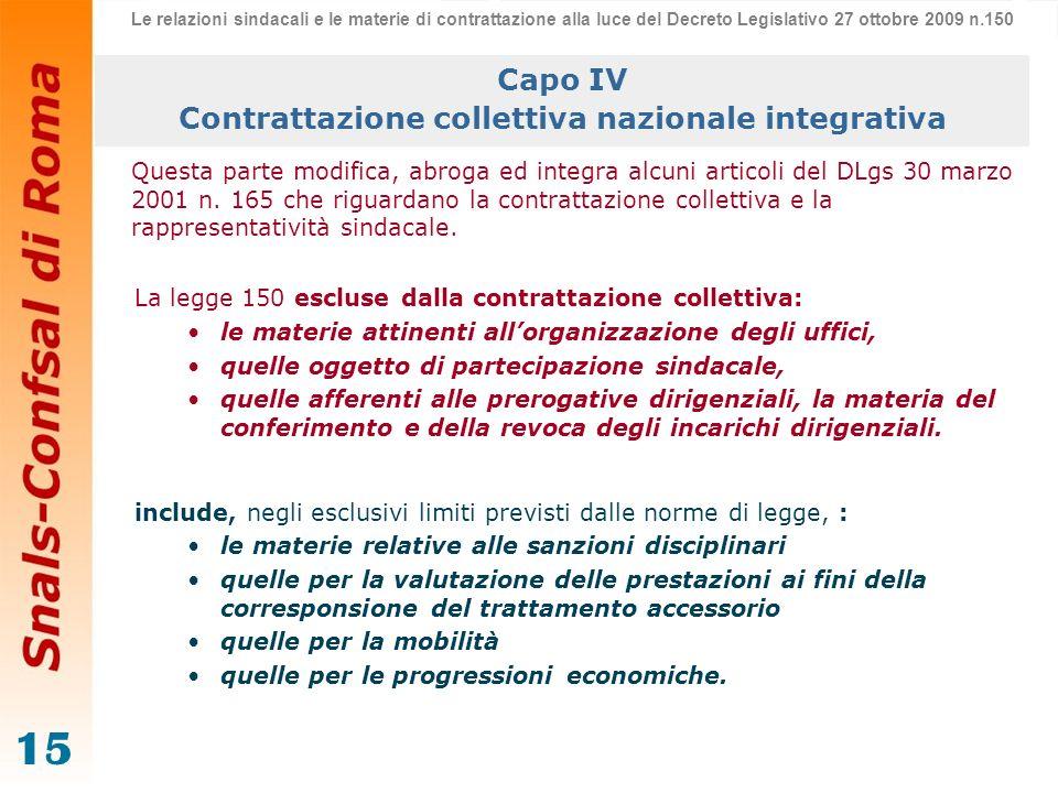 15 Capo IV Contrattazione collettiva nazionale integrativa Questa parte modifica, abroga ed integra alcuni articoli del DLgs 30 marzo 2001 n. 165 che