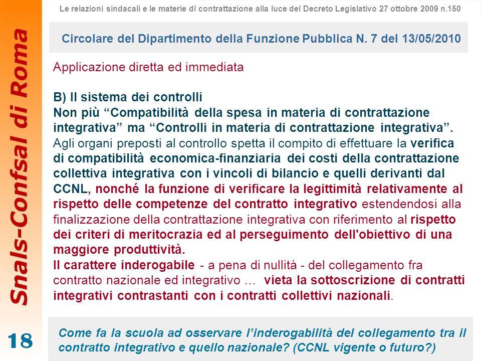 18 Applicazione diretta ed immediata B) Il sistema dei controlli Non più Compatibilità della spesa in materia di contrattazione integrativa ma Control