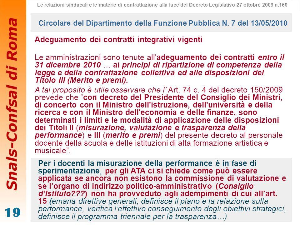 19 Adeguamento dei contratti integrativi vigenti Le amministrazioni sono tenute all'adeguamento dei contratti entro il 31 dicembre 2010 … ai principi