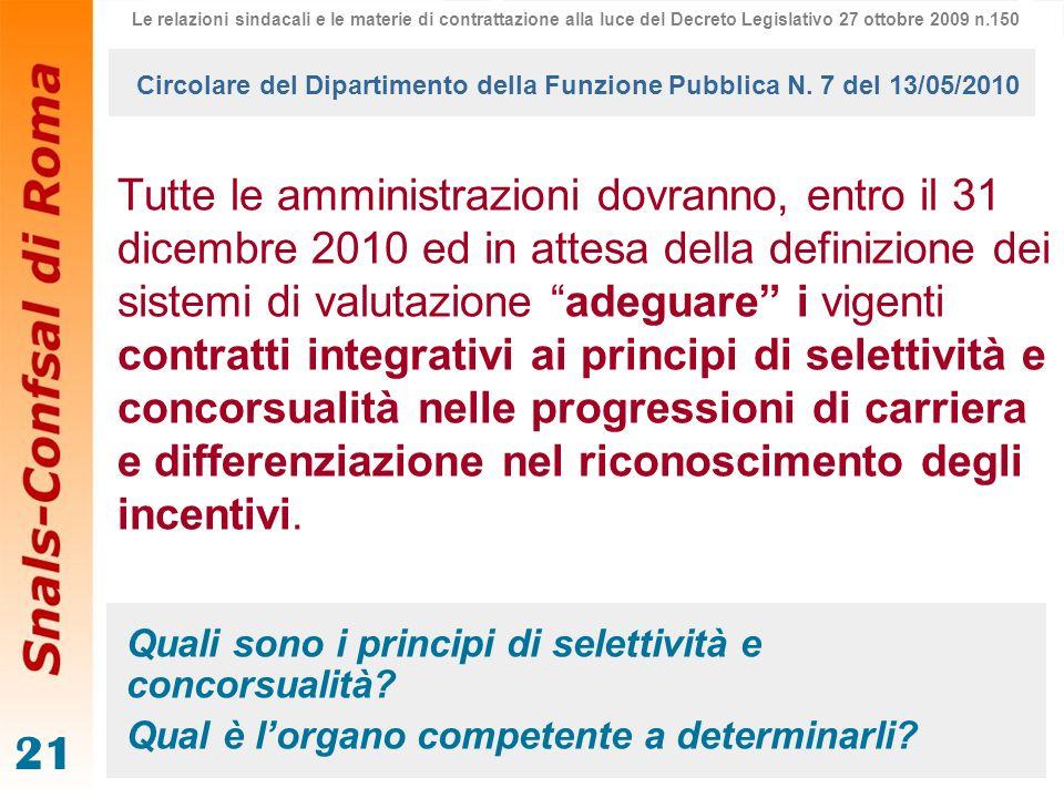21 Tutte le amministrazioni dovranno, entro il 31 dicembre 2010 ed in attesa della definizione dei sistemi di valutazione adeguare i vigenti contratti