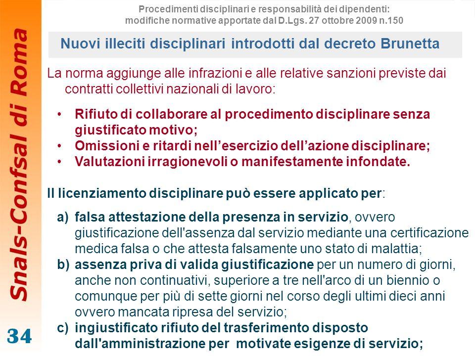 34 La norma aggiunge alle infrazioni e alle relative sanzioni previste dai contratti collettivi nazionali di lavoro: Rifiuto di collaborare al procedi