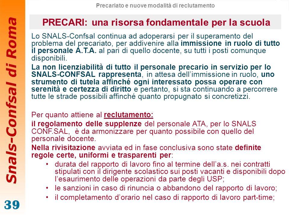 39 Lo SNALS-Confsal continua ad adoperarsi per il superamento del problema del precariato, per addivenire alla immissione in ruolo di tutto il persona