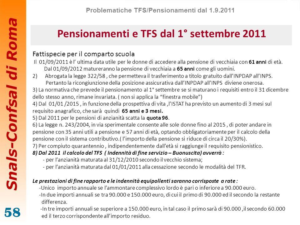 58 Pensionamenti e TFS dal 1° settembre 2011 Fattispecie per il comparto scuola Il 01/09/2011 è l ultima data utile per le donne di accedere alla pens