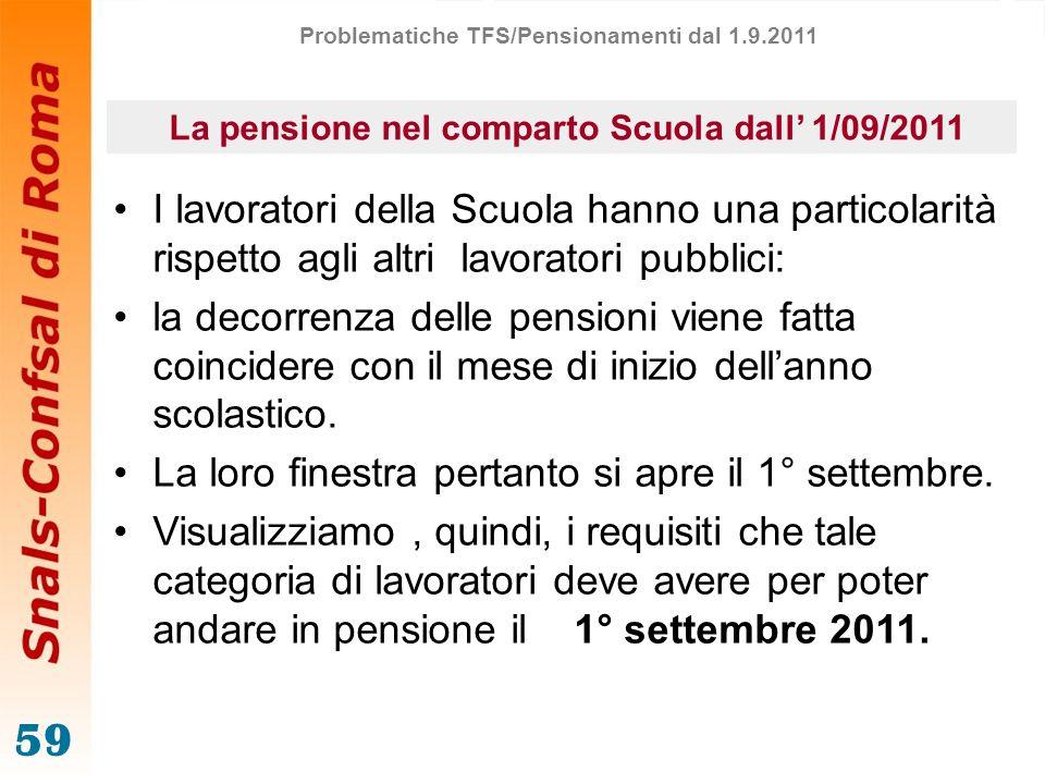 59 La pensione nel comparto Scuola dall 1/09/2011 I lavoratori della Scuola hanno una particolarità rispetto agli altri lavoratori pubblici: la decorr