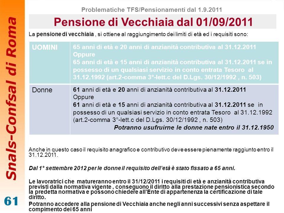 61 Pensione di Vecchiaia dal 01/09/2011 La pensione di vecchiaia, si ottiene al raggiungimento dei limiti di età ed i requisiti sono: Anche in questo