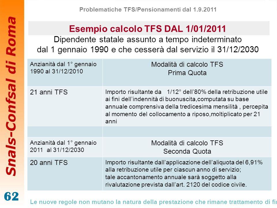 62 Esempio calcolo TFS DAL 1/01/2011 Dipendente statale assunto a tempo indeterminato dal 1 gennaio 1990 e che cesserà dal servizio il 31/12/2030 Anzi