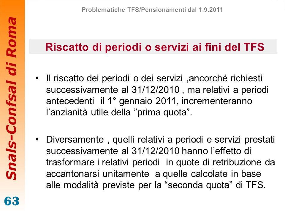 63 Riscatto di periodi o servizi ai fini del TFS Il riscatto dei periodi o dei servizi,ancorché richiesti successivamente al 31/12/2010, ma relativi a