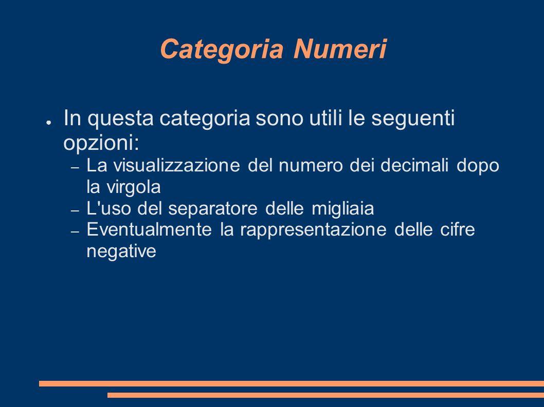 Categoria Numeri In questa categoria sono utili le seguenti opzioni: – La visualizzazione del numero dei decimali dopo la virgola – L'uso del separato