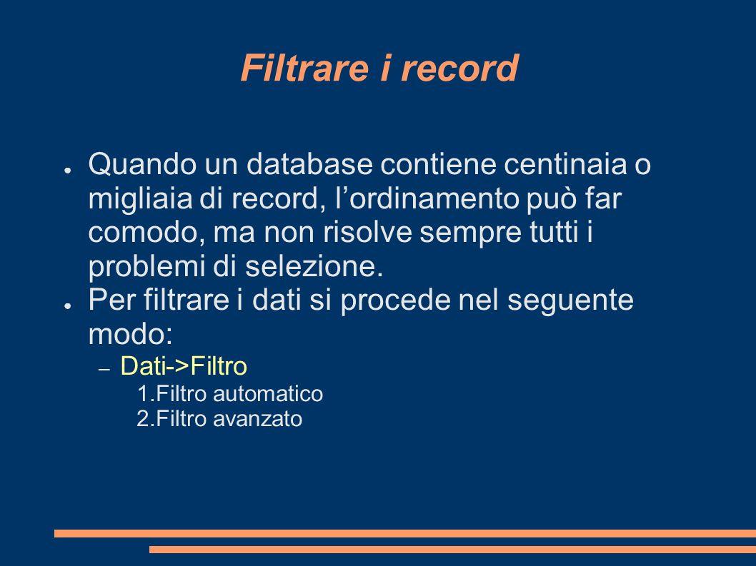 Filtrare i record Quando un database contiene centinaia o migliaia di record, lordinamento può far comodo, ma non risolve sempre tutti i problemi di s