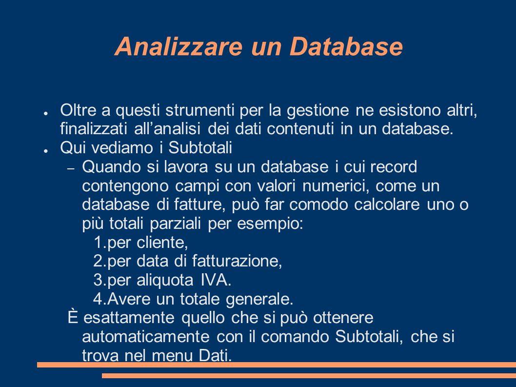 Analizzare un Database Oltre a questi strumenti per la gestione ne esistono altri, finalizzati allanalisi dei dati contenuti in un database. Qui vedia