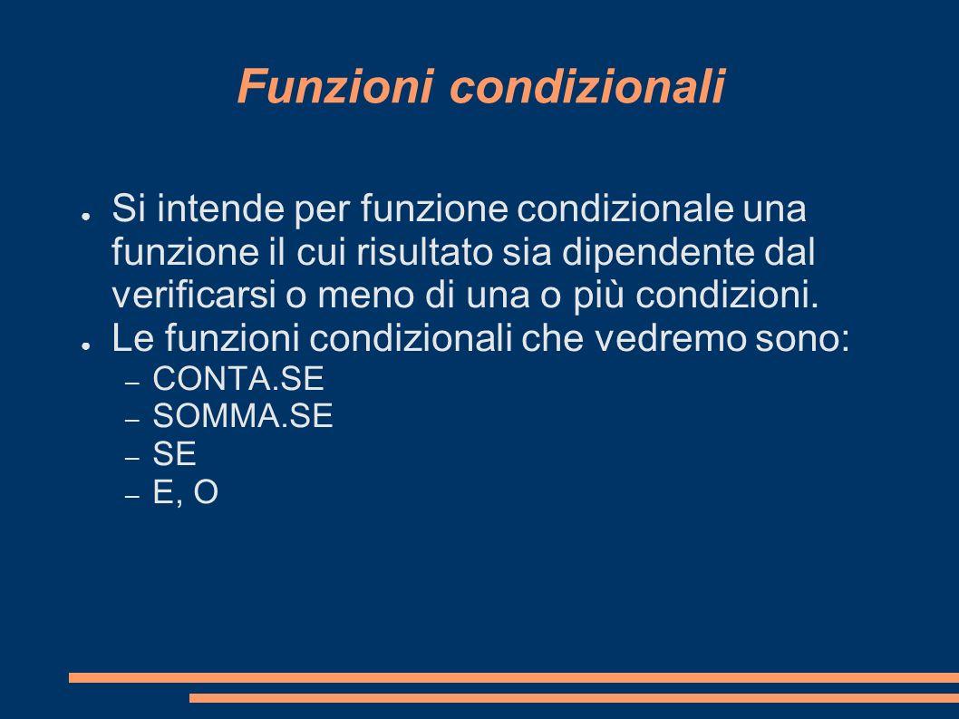 Funzioni condizionali Si intende per funzione condizionale una funzione il cui risultato sia dipendente dal verificarsi o meno di una o più condizioni