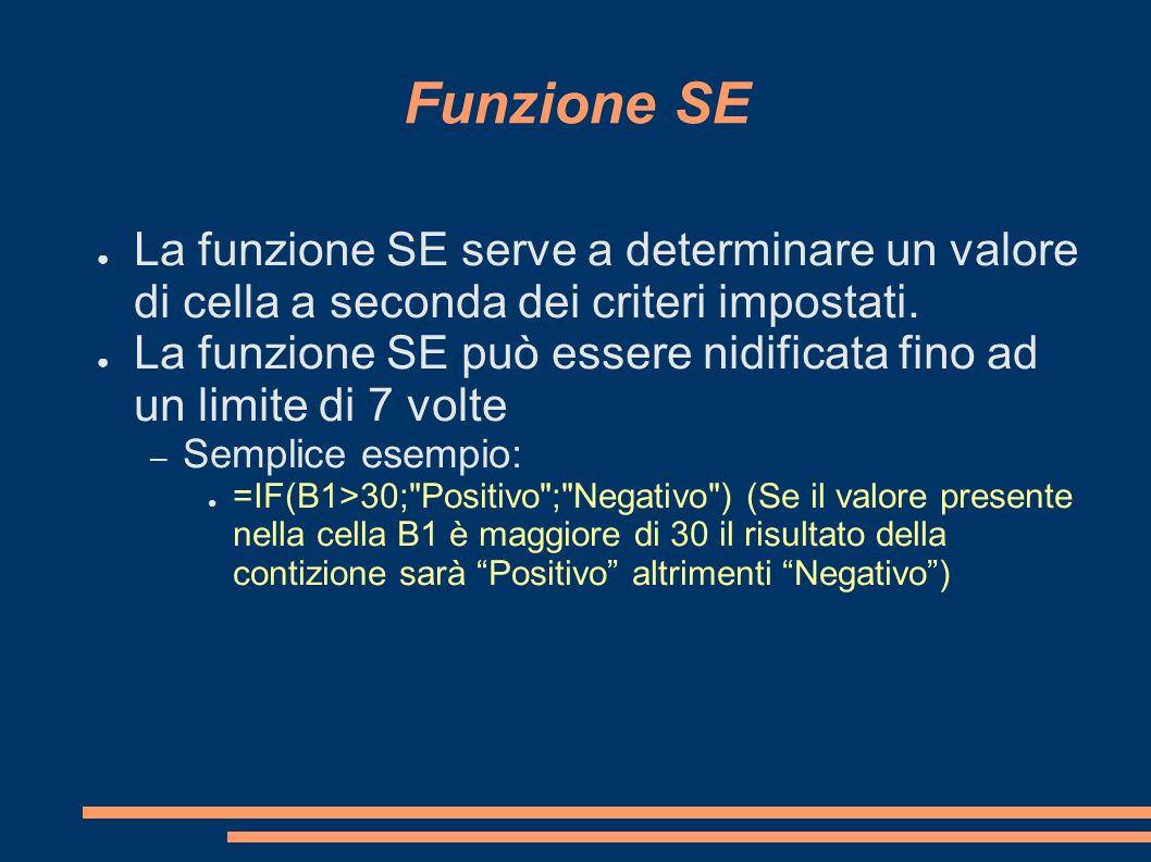 Funzione SE La funzione SE serve a determinare un valore di cella a seconda dei criteri impostati. La funzione SE può essere nidificata fino ad un lim