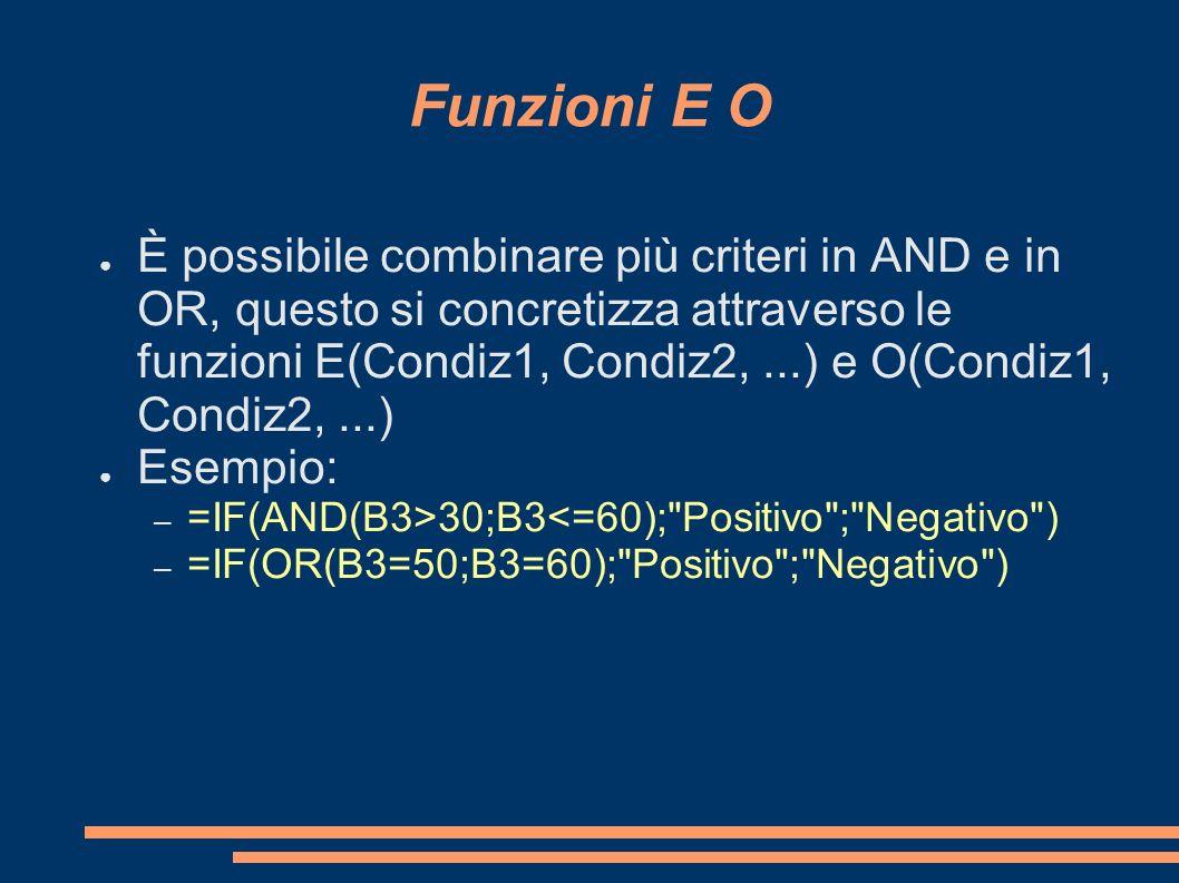 Funzioni E O È possibile combinare più criteri in AND e in OR, questo si concretizza attraverso le funzioni E(Condiz1, Condiz2,...) e O(Condiz1, Condi