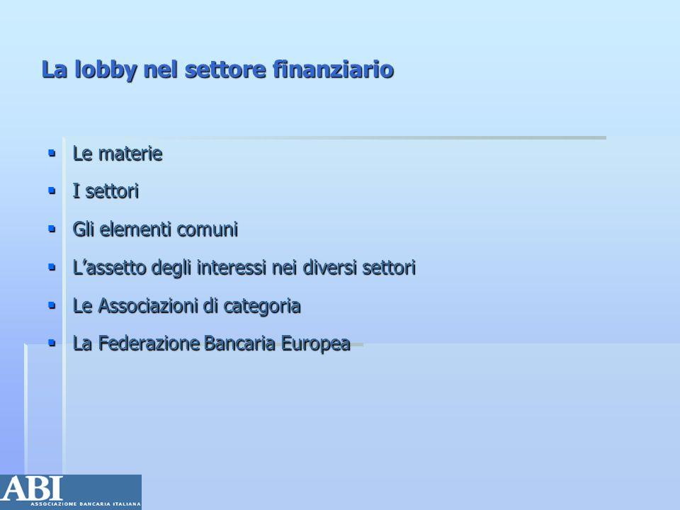 La lobby nel settore finanziario Le materie Le materie I settori I settori Gli elementi comuni Gli elementi comuni Lassetto degli interessi nei divers