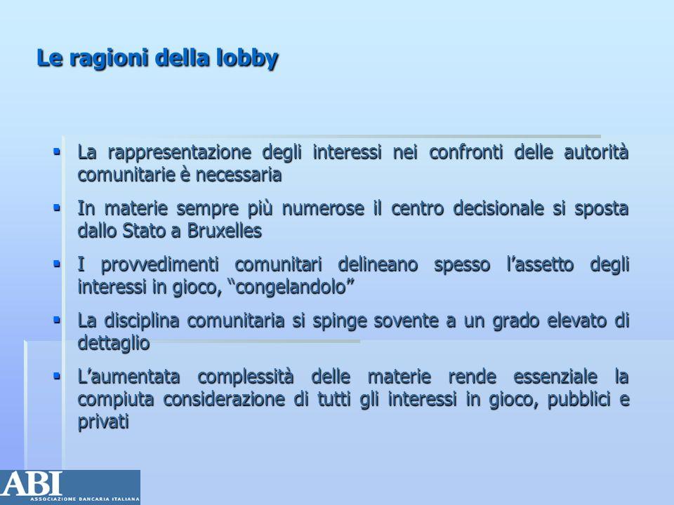 Gli attori I bersagli della lobby: istituzioni UE I bersagli della lobby: istituzioni UE Chi sono: la Commissione, il Parlamento, il Consiglio, il COR, il CES Chi sono: la Commissione, il Parlamento, il Consiglio, il COR, il CES Cosa fanno: i regolamenti, le direttive, le raccomandazioni, le comunicazioni, i Libri Bianchi Cosa fanno: i regolamenti, le direttive, le raccomandazioni, le comunicazioni, i Libri Bianchi Complessità organizzativa, riparto di competenze, individuazione dei settori competenti Complessità organizzativa, riparto di competenze, individuazione dei settori competenti I soggetti attivi (mutano a seconda delle materie) I soggetti attivi (mutano a seconda delle materie) La lobby pubblica La lobby pubblica La lobby del settore privato La lobby del settore privato