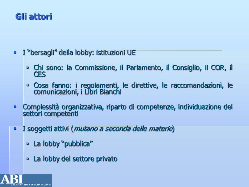 Gli attori I bersagli della lobby: istituzioni UE I bersagli della lobby: istituzioni UE Chi sono: la Commissione, il Parlamento, il Consiglio, il COR