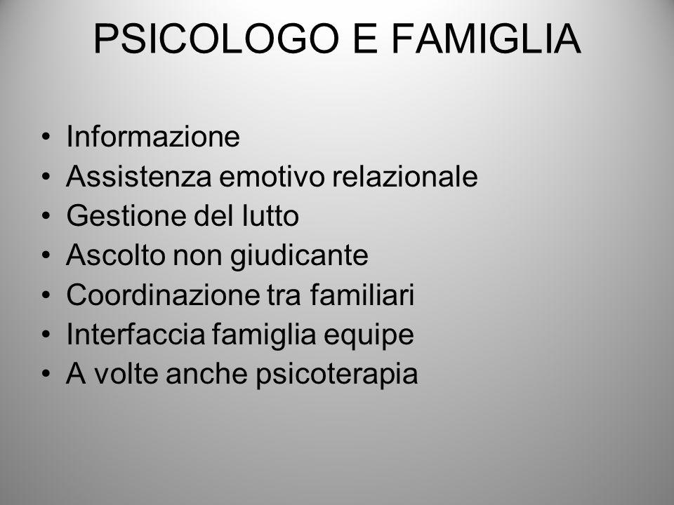 PSICOLOGO E FAMIGLIA Informazione Assistenza emotivo relazionale Gestione del lutto Ascolto non giudicante Coordinazione tra familiari Interfaccia fam