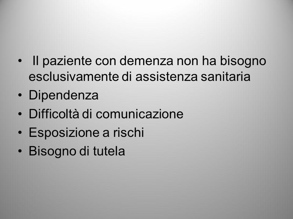 Il paziente con demenza non ha bisogno esclusivamente di assistenza sanitaria Dipendenza Difficoltà di comunicazione Esposizione a rischi Bisogno di t
