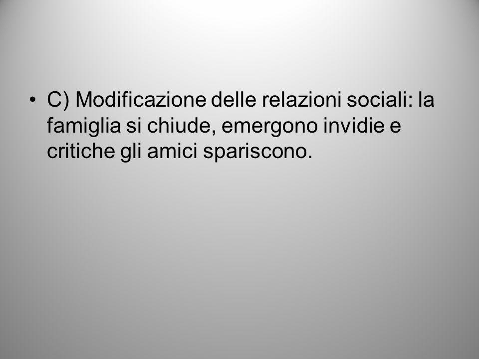 C) Modificazione delle relazioni sociali: la famiglia si chiude, emergono invidie e critiche gli amici spariscono.