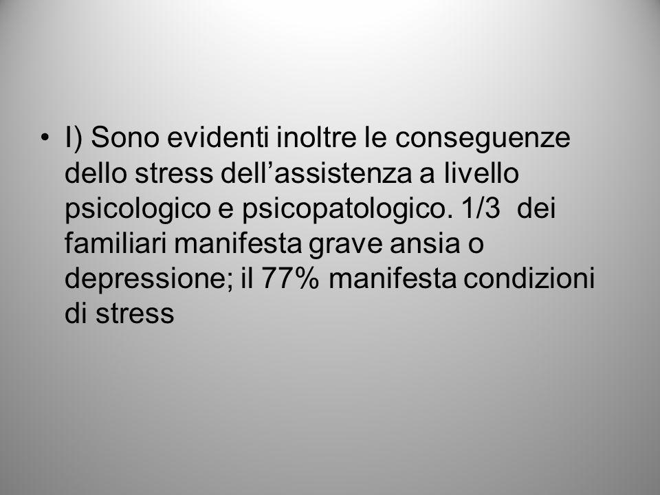 I) Sono evidenti inoltre le conseguenze dello stress dellassistenza a livello psicologico e psicopatologico. 1/3 dei familiari manifesta grave ansia o