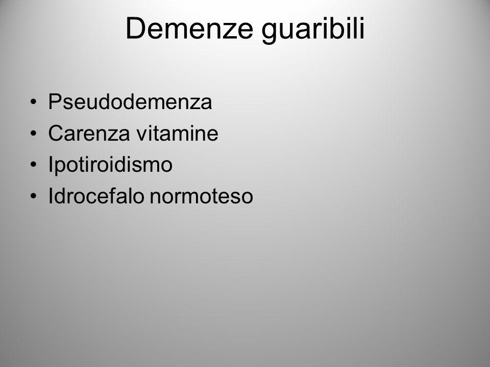 ALTRI TIPI DI DEMENZA Dovuta ad intossicazione (ecstasy, CO, fenilciclidina, ketamina) Condizioni mediche (parkinson, meningiti, insufficienze renali ed epatiche, AIDS)
