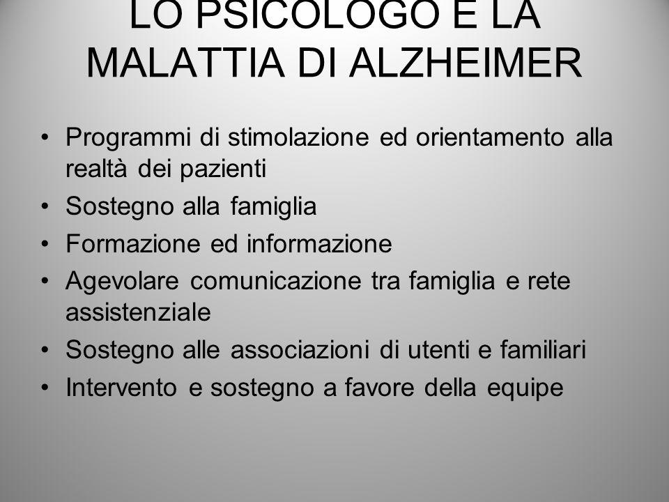 LO PSICOLOGO E LA MALATTIA DI ALZHEIMER Programmi di stimolazione ed orientamento alla realtà dei pazienti Sostegno alla famiglia Formazione ed inform