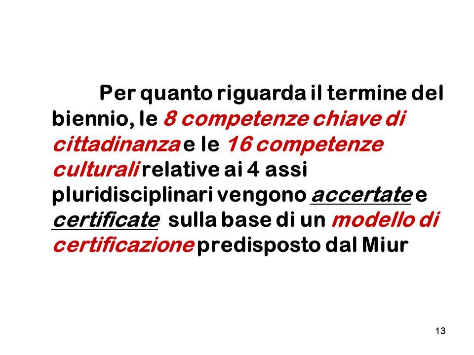13 Per quanto riguarda il termine del biennio, le 8 competenze chiave di cittadinanza e le 16 competenze culturali relative ai 4 assi pluridisciplinar