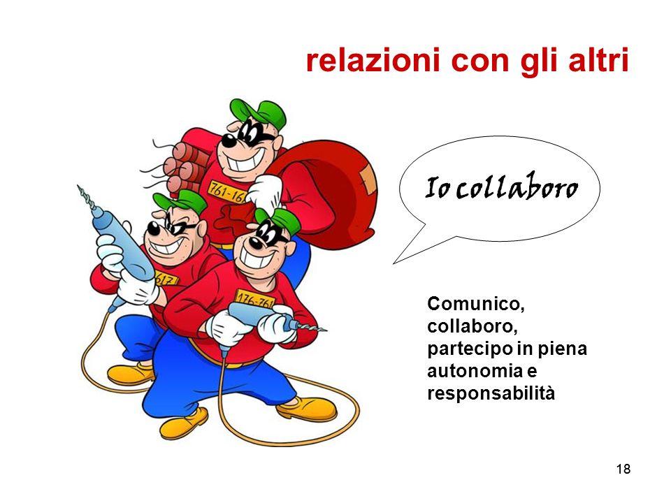 18 Io collaboro relazioni con gli altri Comunico, collaboro, partecipo in piena autonomia e responsabilità