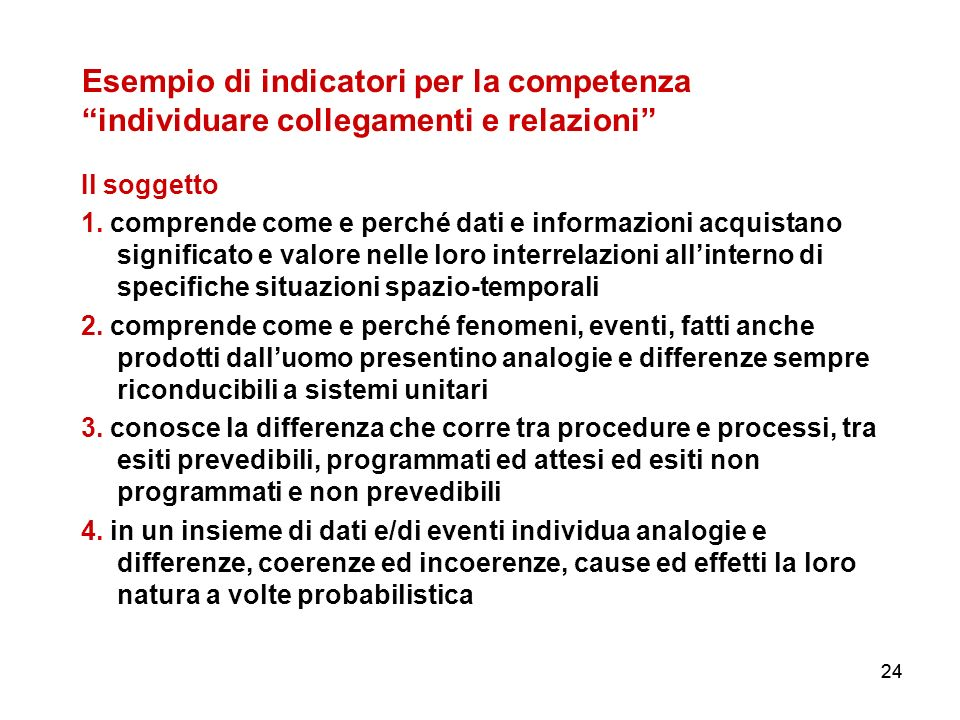 24 Esempio di indicatori per la competenza individuare collegamenti e relazioni Il soggetto 1. comprende come e perché dati e informazioni acquistano