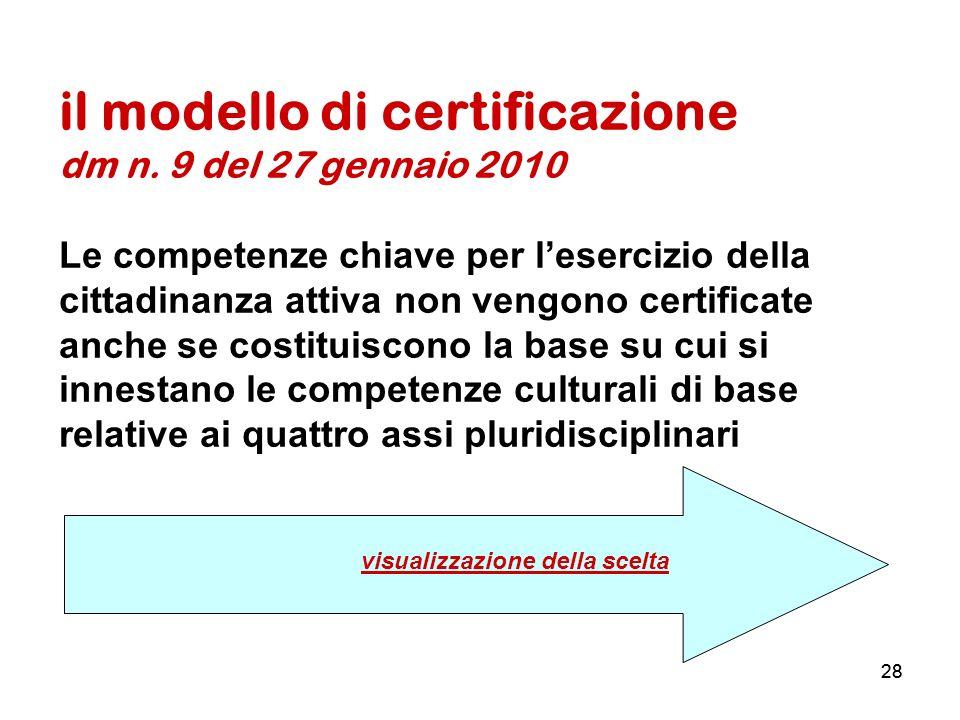 28 il modello di certificazione dm n. 9 del 27 gennaio 2010 Le competenze chiave per lesercizio della cittadinanza attiva non vengono certificate anch
