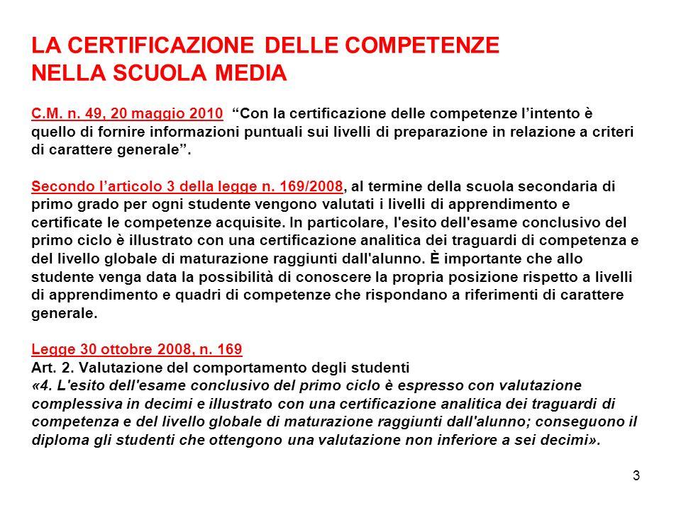 3 LA CERTIFICAZIONE DELLE COMPETENZE NELLA SCUOLA MEDIA C.M. n. 49, 20 maggio 2010 Con la certificazione delle competenze lintento è quello di fornire