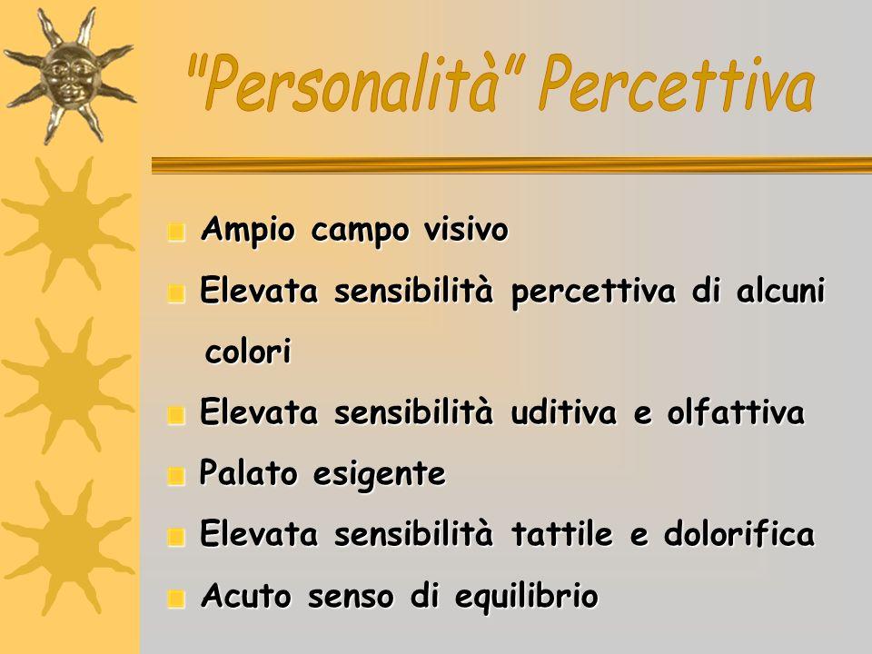 Ampio campo visivo Ampio campo visivo Elevata sensibilità percettiva di alcuni Elevata sensibilità percettiva di alcuni colori colori Elevata sensibil