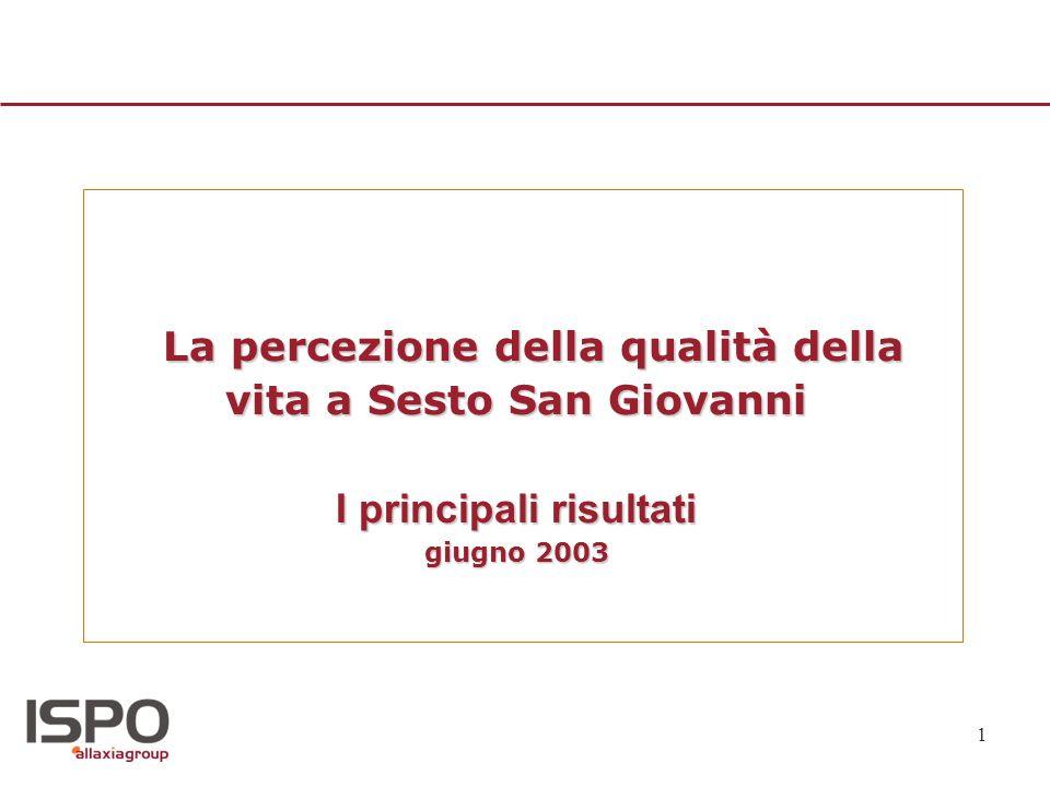 1 La percezione della qualità della vita a Sesto San Giovanni I principali risultati giugno 2003 La percezione della qualità della vita a Sesto San Gi