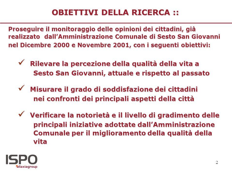2 OBIETTIVI DELLA RICERCA :: Rilevare la percezione della qualità della vita a Sesto San Giovanni, attuale e rispetto al passato Rilevare la percezion